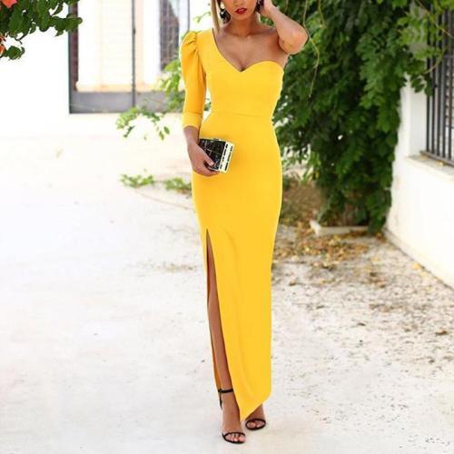 Elegant One Shoulder Side Slit Evening Dress