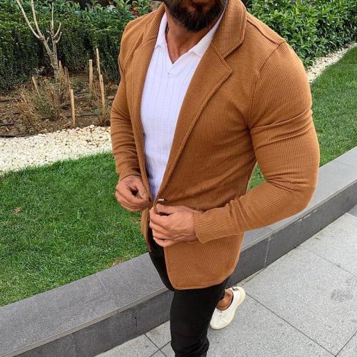 Simple Slim Fit Turndown Collar Pure Colour Coat