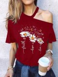Round Neck Chrysanthemum Print Strapless Ladies T-shirt