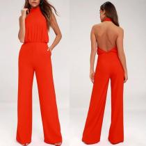 High Waist Round Collar Leakage Back Pure Color Conjoined Broad Leg Trousers