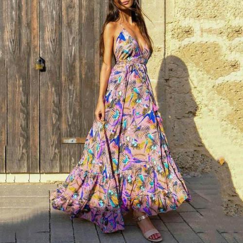 Bohemian V Neck Bare Back Sleeveless Off-Shoulder Belted Dress