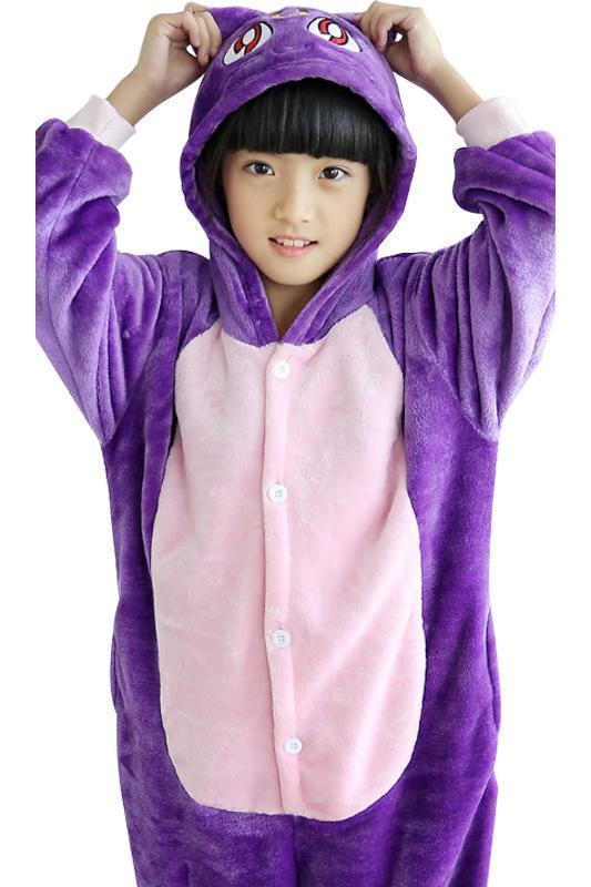 Kids Christmas Pajamas Purple Cat Animal Costumes Onesie