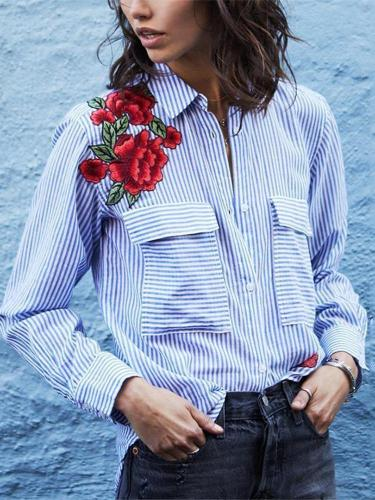 Fashion Embroidered Striped Long Sleeve Blouses