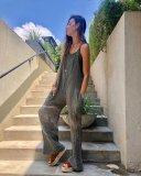 EBUYTIDE Simple Grey Sling Vacation Jumpsuit