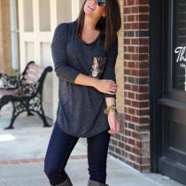 Scoop Sequins Pocket Long Sleeves Long Blouse