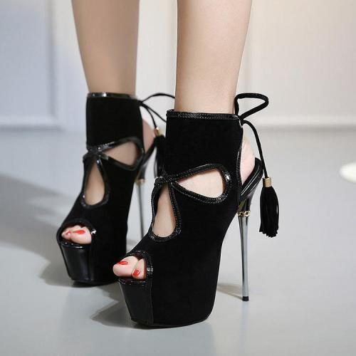 Cut Out Peep Toe Platform Tassels Back Lace Up Stiletto High Heels Sandals