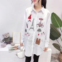 Casual Single Breasted Long Sleeve Blouse Vintage Cartoon Cat Embroidered Shirts Blouses