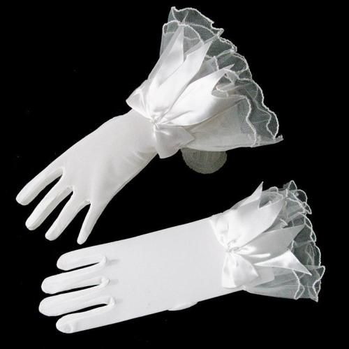 1 Pair White Short Wedding Gloves Women Bridal Gloves Elegant White Lace Gloves for Bridal Wedding Accessories