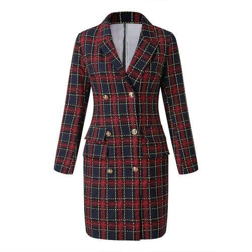 Plaid Double-Breasted Blazer Dress Slim Bodycon Party Dress
