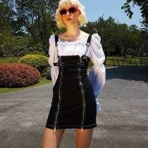 EBUYTIDE Women Dress 2019 Women Street Gothic Style Punk Black Retro Irregular Zipper Denim Straps Dress Party Dress Vestidos Plus Size