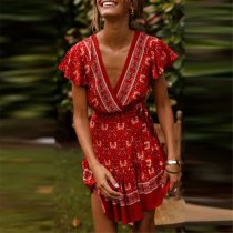 Sweet Deep V Collar Floral Printed Defined Waist Mini Vacation Dress