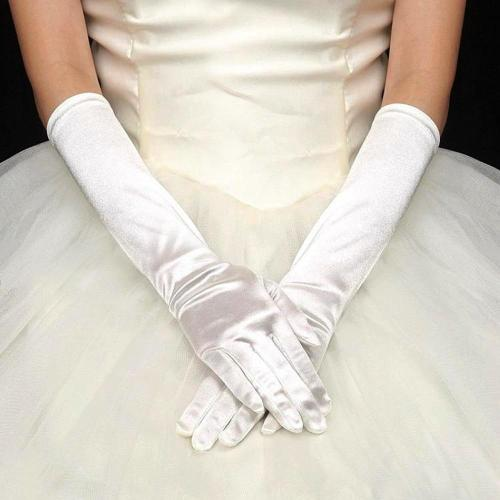 Satin Long Gloves Womens Evening Party Prom Gloves guantes mujer Opera Party Fashion Silk Solid Long Gloves Woman eldiven luva