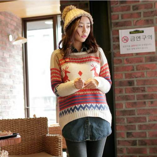 Reindeer Colorblock Jacquard Christmas Sweater