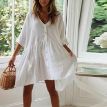 Cotton And Linen Solid Color V-Neck Button Dress
