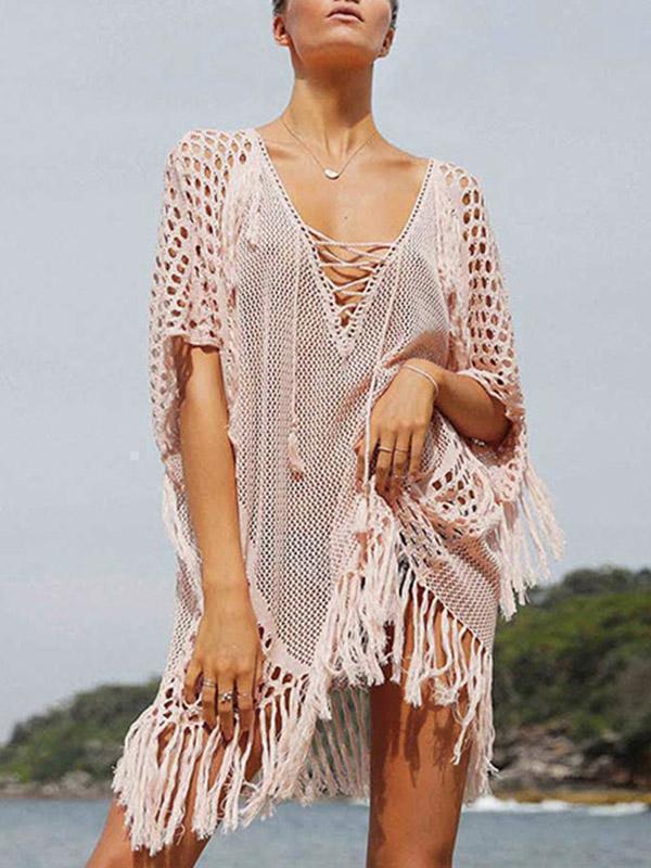 Knitting Tasseled Cover-Ups Swimwear