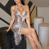 Sexy Slip Tassel Paillette Bodycon Dress