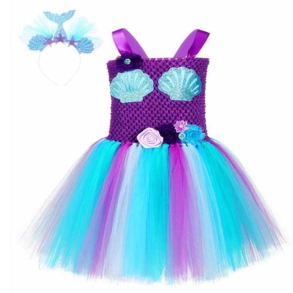 Girls Mermaid Tutu Dress with Headband Mermaid Purple Tutu Dress Tulle Costume Outfit