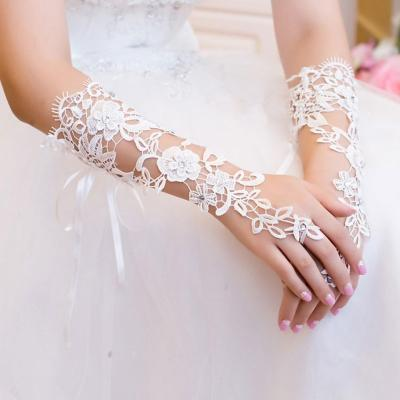 Long Lace Bridal Gloves Lady Formal Banquet Gloves for Bride Evening Party White guantes novia