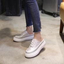 Women Oxfords Soft PU Leather Solid Causal Slip-on Lace-up British Style Flat Shoes