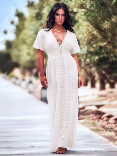 Deep V Neck Lace Waisted Cover-Ups