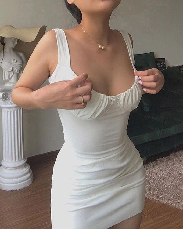 Sexy Solid Color Slim Bodycon Dress