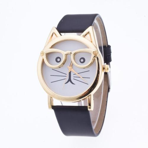 Creativity Cartoon Cat With Glasses Watch