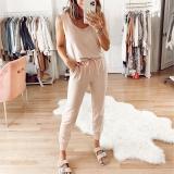 EBUYTIDE Simple Round Neck Sleeveless Slim Fit Jumpsuit