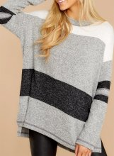 Color Block Loose Fit Sweatshirt