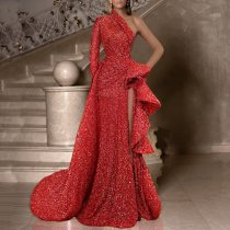 Fashion One Shoulder One Sleeve Solid Color Pleated Split Dress