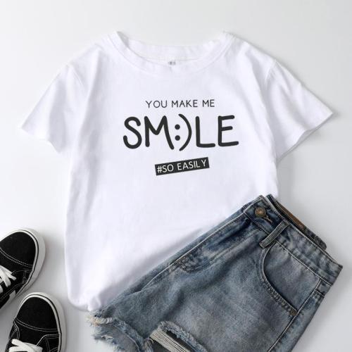 Simple Letter Printed Short Sleeve