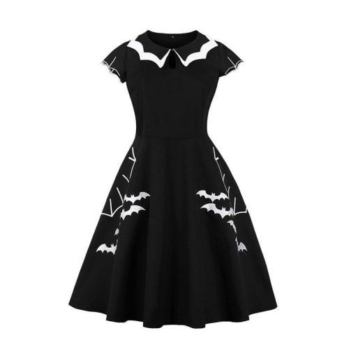 EBUYTIDE Retro women dress black vintage 1950s doll collar bat print elegant A Line dress sexy gothic Dress 2020 Halloween dress