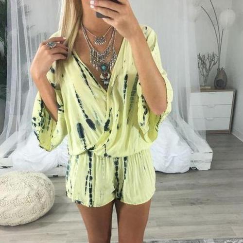 EBUYTIDE Fashion V-Neck Short Sleeve Tie Dye Loose Jumpsuit