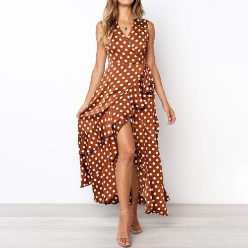 Sexy V-neck Sleeveless Slim-Fit Irregular Polka Dot Dress