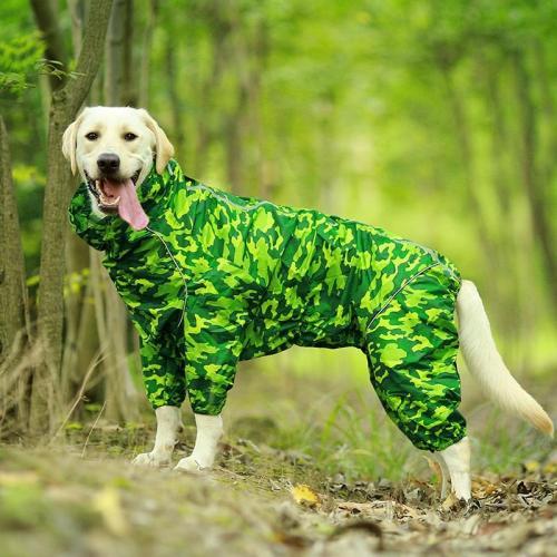 Pet Dog Raincoat Reflective Waterproof Zipper Clothes High Neck Hooded Jumpsuit For Small Big Dogs Overalls Rain Cloak Labrador