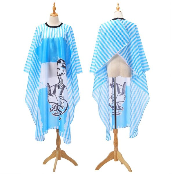 Haircut Hairdressing Barber Cloth Blue Chambray Apron Polyester Hair Styling Design Supplies Breathable Salon Barber Gown