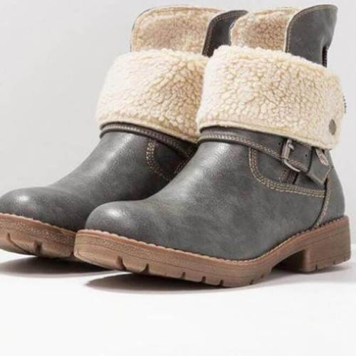 Retro Chunky Heels Warm Buckled Boots