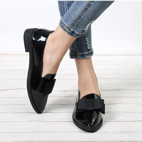 Women Bowtie Loafers Patent Leather Elegant Low Heels Slip On Flats Shoes
