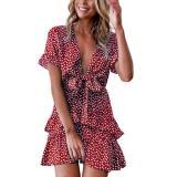Women Short Sleeve Sexy Deep V-Neck Swing Mini Dress Vintage Floral Print Ruffle Layers Tie Knot Front Beach Sundress