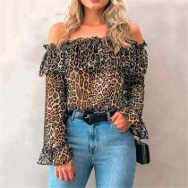 Casual Off Shoulder Ruffle Leopard Printed Long-Sleeved Chiffon Shirt