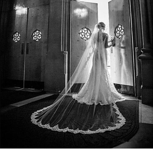Elegant Bridal Veil Lace Edge One Layer Tulle Wedding Veil Without Comb 3*1.5 M Women Bridal Veil 2020