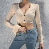 Cotton Ribbed Knitted Deep V-Neck Sexy T-shirt Front Button Ruffles Long Flare Sleeve Autumn Elegant Women Cropped Tops