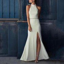 Elegant Off-Shoulder Splicing Pure Colour Slit Bare Back Dress