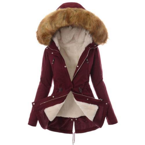 Faux Fur Collar Zippers Slim Women Oversized Long Hooded Parka Jacket Coat