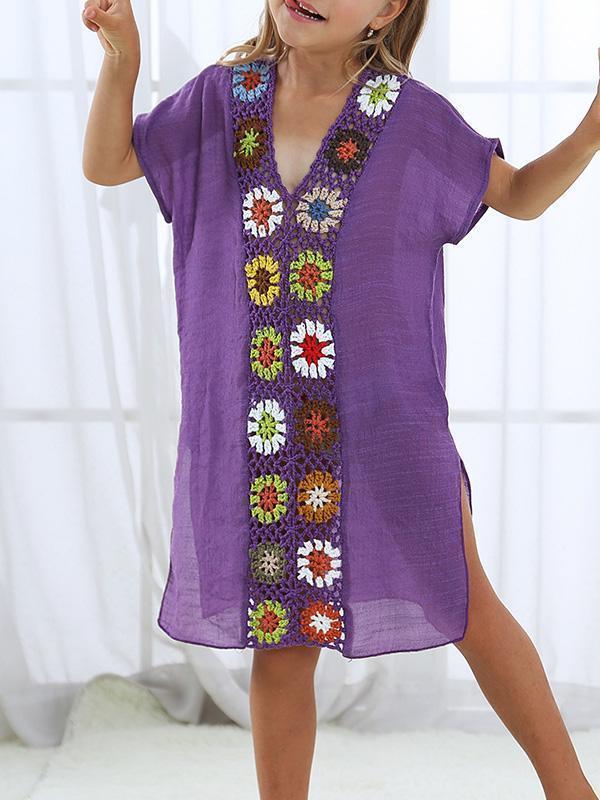 V-neck Split-joint Children Beach Mini Dresses