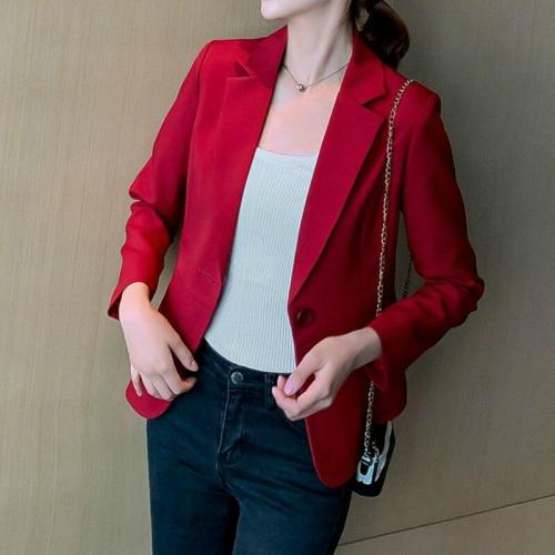 Short Slim-Fit Single Button Jacket Women Blazer Office Coat Korean Suit Female Office Blazers Ladies Tops Blazers Mulheres