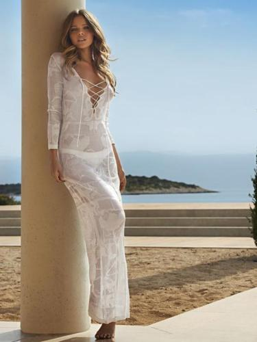 Casual Vacation Beach Lace-Up Mask Long Dress Cover-Ups
