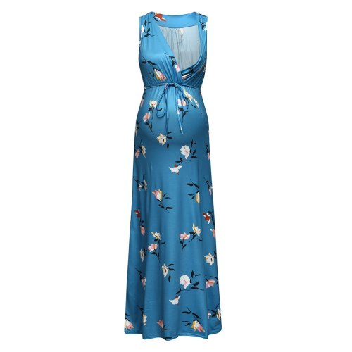 Maternity Sleeveless Summer Long Dress Cotton Blend Printing Flower Fashion belt V-neck Pregnant 2020 New Dresses