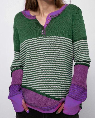 Contrast Striped Long Sleeve Top