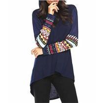 Casual National Stylelong Sleeved Printed Hooded Sweatshirt