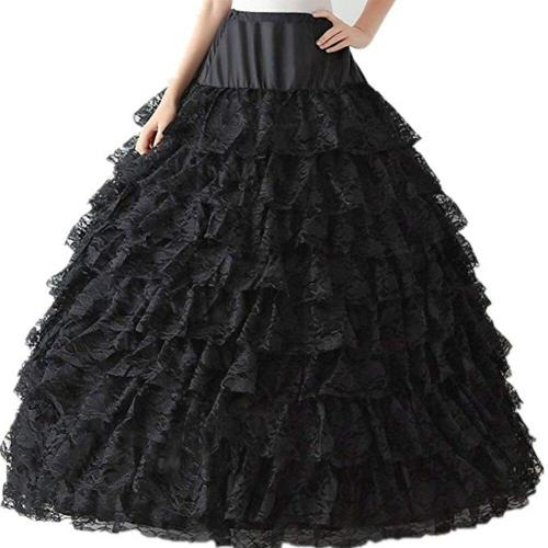 Colorful Lace Petticoat Floor Length Long Ball Gown Underskirt Without Hoop 9 Layers Women Crinoline Bridal 2020